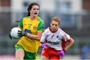 20 July 2019; Niamh Boyle of Donegal in action against Niamh McGirr of Tyrone during the TG4 All-Ireland Ladies Football Senior Championship Group 4 Round 2 match between Donegal and Tyrone at TEG Cusack Park in Mullingar, Co. Westmeath. Photo by Piaras Ó Mídheach/Sportsfile