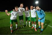 21 July 2019; Republic of Ireland players, from left, Niall Morahan, Andy Lyons, Brandon Kavanagh, Ali Reghba and Brian Maher celebrate following the 2019 UEFA U19 European Championship Finals group B match between Republic of Ireland and Czech Republic at the FFA Academy Stadium in Yerevan, Armenia. Photo by Stephen McCarthy/Sportsfile