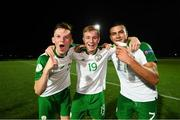 21 July 2019; Andy Lyons, left, Brandon Kavanagh and Ali Reghba, right, of Republic of Ireland celebrate following the 2019 UEFA U19 European Championship Finals group B match between Republic of Ireland and Czech Republic at the FFA Academy Stadium in Yerevan, Armenia. Photo by Stephen McCarthy/Sportsfile