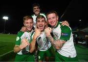 21 July 2019; Republic of Ireland players, from left, Brandon Kavanagh, Oisin McEntee, Kameron Ledwidge and Barry Coffey, top, celebrate following the 2019 UEFA U19 European Championship Finals group B match between Republic of Ireland and Czech Republic at the FFA Academy Stadium in Yerevan, Armenia. Photo by Stephen McCarthy/Sportsfile
