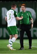 21 July 2019; Kameron Ledwidge and Republic of Ireland head coach Tom Mohan following the 2019 UEFA U19 European Championship Finals group B match between Republic of Ireland and Czech Republic at the FFA Academy Stadium in Yerevan, Armenia. Photo by Stephen McCarthy/Sportsfile