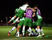 21 July 2019; Republic of Ireland players celebrate after Barry Coffey scored their winning goal during the 2019 UEFA U19 European Championship Finals group B match between Republic of Ireland and Czech Republic at the FFA Academy Stadium in Yerevan, Armenia. Photo by Stephen McCarthy/Sportsfile