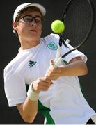 22 July 2019; Arthur O'Sullivan of Ireland competes against Yujiro Onuma of Great Britain in round 1 of the boys singles event at the Baku Tennis Academy during Day One of the 2019 Summer European Youth Olympic Festival in Baku, Azerbaijan. Photo by Eóin Noonan/Sportsfile