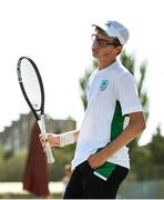 22 July 2019; Arthur O'Sullivan of Ireland after conceding a point to Yujiro Onuma of Great Britain in round 1 of the boys singles event at the Baku Tennis Academy during Day One of the 2019 Summer European Youth Olympic Festival in Baku, Azerbaijan. Photo by Eóin Noonan/Sportsfile