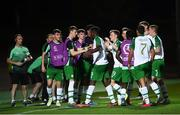 21 July 2019; Jonathan Afolabi celebrates with his Republic of Ireland team-mate Ciaran Brennan after scoring his side's opening goal during the 2019 UEFA U19 European Championship Finals group B match between Republic of Ireland and Czech Republic at the FFA Academy Stadium in Yerevan, Armenia. Photo by Stephen McCarthy/Sportsfile