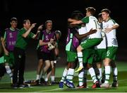 21 July 2019; Jonathan Afolabi celebrates with his Republic of Ireland team-mates after scoring his side's opening goal during the 2019 UEFA U19 European Championship Finals group B match between Republic of Ireland and Czech Republic at the FFA Academy Stadium in Yerevan, Armenia. Photo by Stephen McCarthy/Sportsfile