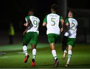 21 July 2019; Jonathan Afolabi celebrates with his Republic of Ireland team-mates Oisin McEntee and Andy Lyons after scoring his side's opening goal during the 2019 UEFA U19 European Championship Finals group B match between Republic of Ireland and Czech Republic at the FFA Academy Stadium in Yerevan, Armenia. Photo by Stephen McCarthy/Sportsfile