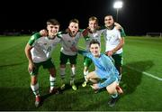 21 July 2019; Republic of Ireland players, from left, Niall Morahan, Andy Lyons, Brandon Kavanagh, Ali Reghba and Brian Maher, front, celebrate following the 2019 UEFA U19 European Championship Finals group B match between Republic of Ireland and Czech Republic at the FFA Academy Stadium in Yerevan, Armenia. Photo by Stephen McCarthy/Sportsfile