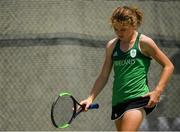 22 July 2019; Cliona Walsh of Ireland after conceding a point to Ida Johansson of Sweden in round 1 of the girls singles event at the Baku Tennis Academy during Day One of the 2019 Summer European Youth Olympic Festival in Baku, Azerbaijan. Photo by Eóin Noonan/Sportsfile