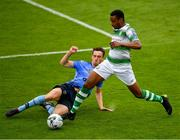 21 July 2019; Eric Abulu of Shamrock Rovers Eric Abulu is tackled by Harry McEvoy of UCD during the SSE Airtricity League Premier Division match between Shamrock Rovers and UCD at Tallaght Stadium in Dublin. Photo by Seb Daly/Sportsfile