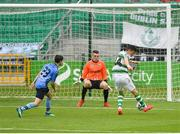 21 July 2019; Graham Cummins of Shamrock Rovers shoots to score his side's first goal past Gavin Sheridan of UCD during the SSE Airtricity League Premier Division match between Shamrock Rovers and UCD at Tallaght Stadium in Dublin. Photo by Seb Daly/Sportsfile
