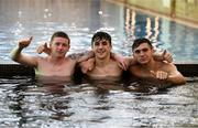 22 July 2019; Kameron Ledwidge, left, Barry Coffey and Oisin McEntee, right, during a Republic of Ireland pool recovery session at the 2019 UEFA European U19 Championships in Yerevan, Armenia. Photo by Stephen McCarthy/Sportsfile
