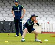 22 July 2019; Paul Stirling practices catching during an Ireland Cricket training session at Lords Cricket Ground in London, England. Photo by Matt Impey/Sportsfile