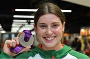 22 July 2019; Kate O'Connor with her silver medal from the Women's Heptathlon event on the return home of Team Ireland from the European Athletics U20 Athletics Championships at Dublin Airport. Photo by Piaras Ó Mídheach/Sportsfile