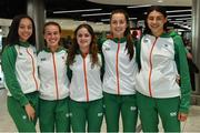 22 July 2019; The Ireland women's 4x400m record breaking team, from left, Davicia Patterson, Miriam Daly, Simone Lalor, Rachel McCann with Sophie O'Sullivan, right, on the return home of Team Ireland from the European Athletics U20 Athletics Championships  at Dublin Airport. Photo by Piaras Ó Mídheach/Sportsfile