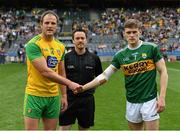 21 July 2019; Referee Paddy Neilan with the two captains, Michael Murphy of Donegal and Gavin White of Kerry, before the GAA Football All-Ireland Senior Championship Quarter-Final Group 1 Phase 2 match between Kerry and Donegal at Croke Park in Dublin. Photo by Ray McManus/Sportsfile