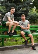 23 July 2019; Andy Lyons, left, and Oisin McEntee pose for a portrait at Victory Park during the 2019 UEFA European U19 Championships in Yerevan, Armenia. Photo by Stephen McCarthy/Sportsfile