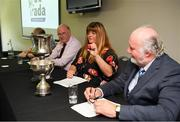 23 July 2019; Jennifer Cultra, Chairperson Ulster Camogie, with the sponsor Martin Donnell, to her left, and to her right Uachtaráin Cumann Lúthchleas Gael John Horan during the draw at the 2019 M Donnelly Poc Fada All Ireland Final Launch at Croke Park in Dublin. Photo by Ray McManus/Sportsfile