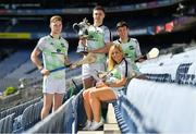 23 July 2019; The 2019 M. Donnelly GAA All-Ireland Poc Fada Finals was officially launched by Uachtarán Chumann Lúthchleas Gael, John Horan in Croke Park today. The All-Ireland Poc Fada finals in Hurling and Camogie will take place on the Cooley Mountains on Saturday August 3rd. The competition was first held in 1960 and following a short hiatus from 1970-1980, it returned in 1981 and has been ever-present on the national calendar since. In attendance at the 2019 M Donnelly Poc Fada All Ireland Final Launch at Croke Park in Dublin are, from left, Leinster winner Cathal Kelly, Current Champion Cillian Kelly, 2017 and 2018 Champion Susan Earner and  Louth representative Darren Geoghegan. Photo by Brendan Moran/Sportsfile