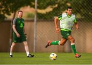 23 July 2019; Ali Reghba and head coach Tom Mohan during a Republic of Ireland training session at the FFA Technical Centre ahead of their semi-final game of the 2019 UEFA European U19 Championships in Yerevan, Armenia. Photo by Stephen McCarthy/Sportsfile