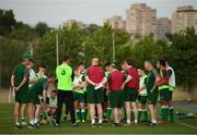 23 July 2019; Republic of Ireland head coach Tom Mohan speaks to players and staff during a training session at the FFA Technical Centre ahead of their semi-final game of the 2019 UEFA European U19 Championships in Yerevan, Armenia. Photo by Stephen McCarthy/Sportsfile