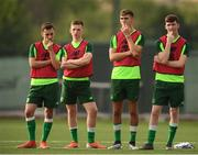 23 July 2019; Republic of Ireland players, from left, Lee O'Connor, Andy Lyons, Oisin McEntee and Conor Grant during a training session at the FFA Technical Centre ahead of their semi-final game of the 2019 UEFA European U19 Championships in Yerevan, Armenia. Photo by Stephen McCarthy/Sportsfile