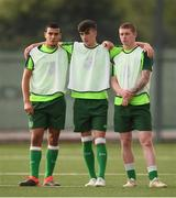 23 July 2019; Ali Reghba, left, Barry Coffey and Kameron Ledwidge, right, during a Republic of Ireland training session at the FFA Technical Centre ahead of their semi-final game of the 2019 UEFA European U19 Championships in Yerevan, Armenia. Photo by Stephen McCarthy/Sportsfile