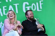 23 July 2019; The 2019 Open Champion Shane Lowry with the Claret Jug and his wife Wendy Honner at his homecoming event in Clara in Offaly. Photo by Piaras Ó Mídheach/Sportsfile