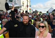 23 July 2019; The 2019 Open Champion Shane Lowry and wife Wendy Honner, with the Claret Jug at his homecoming event in Clara in Offaly. Photo by Seb Daly/Sportsfile
