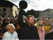 23 July 2019; The 2019 Open Champion Shane Lowry, his grandmother Emily Scanlon and wife Wendy Honner, with the Claret Jug at his homecoming event in Clara in Offaly. Photo by Seb Daly/Sportsfile