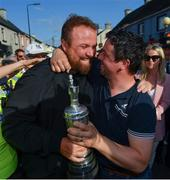 23 July 2019; The 2019 Open Champion Shane Lowry is greeted by a well-wisher at his homecoming event in Clara in Offaly. Photo by Seb Daly/Sportsfile
