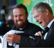23 July 2019; The 2019 Open Champion Shane Lowry, left, is presented with a Clara GAA jersey by Michéal O Muircheartaigh at his homecoming event in Clara in Offaly. Photo by Seb Daly/Sportsfile