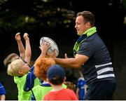 24 July 2019; Leinster's Bryan Byrne with participants during the Bank of Ireland Leinster Rugby Summer Camp in St Marys College RFC in Templeogue, Dublin. Photo by Seb Daly/Sportsfile