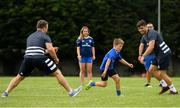 24 July 2019; Leinster players Jimmy O'Brien, right, and Bryan Byrne, left, with participants during the Bank of Ireland Leinster Rugby Summer Camp in St Marys College RFC in Templeogue, Dublin. Photo by Seb Daly/Sportsfile