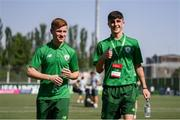 24 July 2019; Brandon Kavanagh, left, and Barry Coffey of Republic of Ireland prior to the 2019 UEFA U19 Championships semi-final match between Portugal and Republic of Ireland at Banants Stadium in Yerevan, Armenia. Photo by Stephen McCarthy/Sportsfile