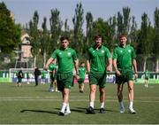 24 July 2019; Republic of Ireland players, from left, Jack James, George McMahon and Mark McGuinness prior to the 2019 UEFA U19 Championships semi-final match between Portugal and Republic of Ireland at Banants Stadium in Yerevan, Armenia. Photo by Stephen McCarthy/Sportsfile
