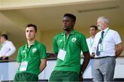 24 July 2019; Jonathan Afolabi, right, and Lee O'Connor of Republic of Ireland watch on during the 2019 UEFA U19 Championships semi-final match between Portugal and Republic of Ireland at Banants Stadium in Yerevan, Armenia. Photo by Stephen McCarthy/Sportsfile