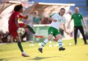 24 July 2019; Joe Hodge of Republic of Ireland and Tomás Tavares of Portugal during the 2019 UEFA U19 Championships semi-final match between Portugal and Republic of Ireland at Banants Stadium in Yerevan, Armenia. Photo by Stephen McCarthy/Sportsfile