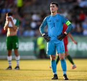 24 July 2019; Republic of Ireland goalkeeper Brian Maher reacts after conceding his side's third goal during the 2019 UEFA U19 Championships semi-final match between Portugal and Republic of Ireland at Banants Stadium in Yerevan, Armenia. Photo by Stephen McCarthy/Sportsfile