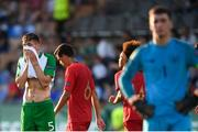 24 July 2019; Oisin McEntee of Republic of Ireland reacts after his side conceded a third goal during the 2019 UEFA U19 Championships semi-final match between Portugal and Republic of Ireland at Banants Stadium in Yerevan, Armenia. Photo by Stephen McCarthy/Sportsfile