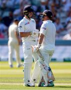24 July 2019; Andrew Balbirnie (left) of Ireland is congratulated by teammate Paul Stirling as he reaches his 50  during day one of the Specsavers Test Match between Ireland and England at Lords Cricket Ground in London, England. Photo by Matt Impey/Sportsfile