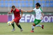 24 July 2019; Costinha of Portugal and Tyreik Wright of Republic of Ireland during the 2019 UEFA U19 Championships semi-final match between Portugal and Republic of Ireland at Banants Stadium in Yerevan, Armenia. Photo by Stephen McCarthy/Sportsfile