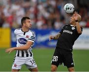 24 July 2019; Robbie Benson of Dundalk in action against Richard Almeida of Qarabag FK during the UEFA Champions League Second Qualifying Round 1st Leg match between Dundalk and Qarabag FK at Oriel Park in Dundalk, Louth. Photo by Seb Daly/Sportsfile