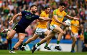21 July 2019; Séamus Lavin of Meath  in action against Aidan O'Shea of Mayo during the GAA Football All-Ireland Senior Championship Quarter-Final Group 1 Phase 2 match between Mayo and Meath at Croke Park in Dublin. Photo by Ray McManus/Sportsfile