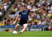 21 July 2019; Cillian O'Connor of Mayo kicks a free during the GAA Football All-Ireland Senior Championship Quarter-Final Group 1 Phase 2 match between Mayo and Meath at Croke Park in Dublin. Photo by Ray McManus/Sportsfile