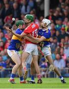 23 July 2019; Brian Turnbull of Cork in action against Craig Morgan, right, and Paddy Cadell of Tipperary during the Bord Gais Energy Munster GAA Hurling Under 20 Championship Final match between Tipperary and Cork at Semple Stadium in Thurles, Co Tipperary. Photo by Sam Barnes/Sportsfile
