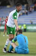 24 July 2019; Republic of Ireland's Oisin McEntee and goalkeeper Brian Maher following the 2019 UEFA U19 Championships semi-final match between Portugal and Republic of Ireland at Banants Stadium in Yerevan, Armenia. Photo by Stephen McCarthy/Sportsfile