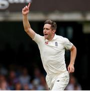 26 July 2019; Chris Woakes of England celebrates taking the wicket of William Porterfield of Ireland during day three of the Specsavers Test Match between Ireland and England at Lords Cricket Ground in London, England. Photo by Matt Impey/Sportsfile