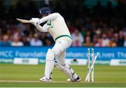 26 July 2019; Mark Adair of Ireland is bowled by Stuart Broad of England during day three of the Specsavers Test Match between Ireland and England at Lords Cricket Ground in London, England. Photo by Matt Impey/Sportsfile