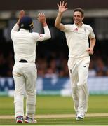 26 July 2019; Chris Woakes of England celebrates taking his 5th wicket, Stuart Thompson of Ireland, during day three of the Specsavers Test Match between Ireland and England at Lords Cricket Ground in London, England. Photo by Matt Impey/Sportsfile